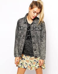 Afends Acid Wash Oversized Denim Jacket With Ying Yang Grey