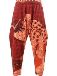 Homme Plisse Issey Miyake Loose Fit Cropped Trousers Red