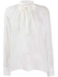 Dolce And Gabbana Pussy Bow Blouse White