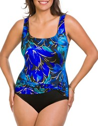 Longitude Floral Pleated One Piece Swimsuit Blue