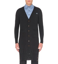 Vivienne Westwood Long Length V Neck Wool Cardigan Carbon