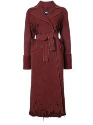Yang Li Distressed Finish Double Breasted Coat Virgin Wool Red