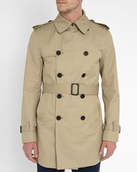 Sandro Beige Double Breasted Trench Coat With Leather Details And Magnetic Under Collar
