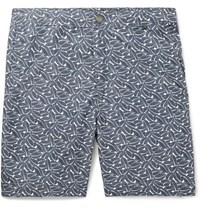 Onia Slim Fit Long Length Printed Swim Shorts Navy