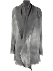 Avant Toi Draped Distressed Long Cardigan Grey