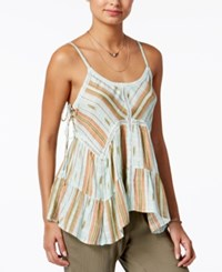 American Rag Juniors' Crochet Trim Lace Up Tank Top Only At Macy's Red Stripe