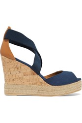 Tory Burch Canvas Leather And Cork Wedge Sandals Navy