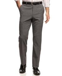 Nautica Flat Front Shadow Plaid Pants Grey