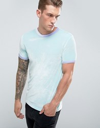 Asos Muscle T Shirt In Velour With Contrast Binding In Mint Green