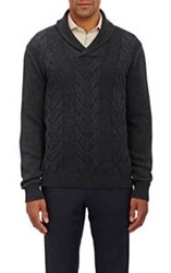 Barneys New York Cable Knit Shawl Sweater Grey