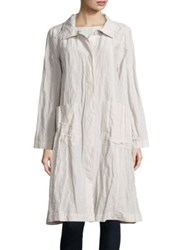 Eileen Fisher Crinkle Stand Collar Coat Bone