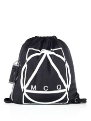 Mcq By Alexander Mcqueen Printed Drawstring Rucksack Black White