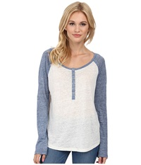 Splendid Melange Linen Jersey Baseball Tee White Heather Navy Women's T Shirt
