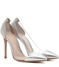 Gianvito Rossi Plexi Metallic Leather Suede And Transparent Pumps Silver