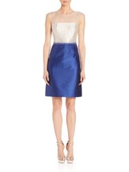 Teri Jon By Rickie Freeman Beaded Colorblock Dress Royal