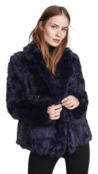 Adrienne Landau Textured Rabbit Pea Coat Navy