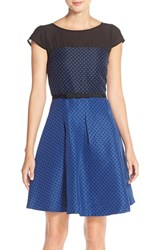 Women's Gabby Skye Polka Dot Jacquard Fit And Flare Dress
