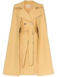 Khaite Donna Cotton Twill Trench Coat Yellow