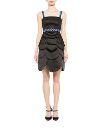 Mary Katrantzou Scalloped Satin Cocktail Dress Black
