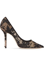 Jimmy Choo Love 100 Swiss Dot Tulle And Corded Lace Pumps Black