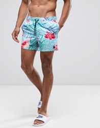 Asos Swim Shorts With Floral Print With Triangle Logo In Short Length Blue