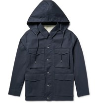 Ami Alexandre Mattiussi Cotton Hooded Parka Storm Blue