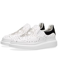 Alexander Mcqueen Wedge Sole Skull Stud Slip On Sneaker White