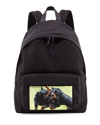 Givenchy Fighting Rottweiler Canvas Backpack Black