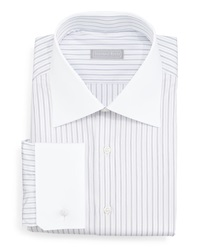 Stefano Ricci Contrast Collar Narrow Stripe Dress Shirt Lavender