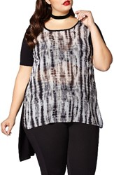 Mblm By Tess Holliday Plus Size Women's Mixed Media High Low Tunic