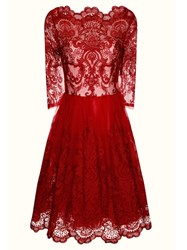 Chi Chi London Baroque Style Tea Dress Burgundy