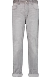 Etoile Isabel Marant Alford Embroidered High Rise Boyfriend Jeans Gray