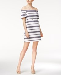 Maison Jules Striped Off The Shoulder Dress Only At Macy's Blu Notte Combo