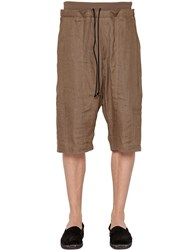 Isabel Benenato Linen Canvas Shorts
