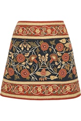 Tory Burch Wade Embroidered Linen Mini Skirt