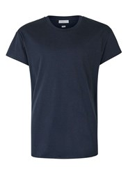 Topman Selected Homme Navy Raw Edge T Shirt Blue
