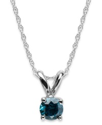 Macy's 10K White Gold Blue Diamond Round Pendant Necklace 1 4 Ct. T.W.