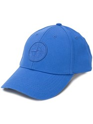Stone Island Logo Embroidered Cap Blue
