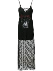 Mcq By Alexander Mcqueen Graphic Print Lace Slip Dress Black