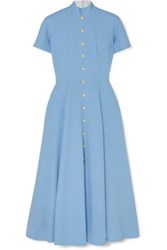 Emilia Wickstead Camila Wool Crepe Midi Dress Light Blue