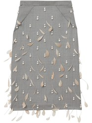Burberry Embellished Pencil Skirt Neutrals