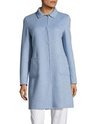 Max Mara Stecca Reversible Virgin Wool Short Coat Light Blue
