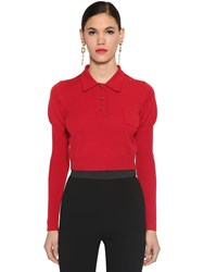 Dolce And Gabbana Cashmere Knit Polo Sweater Red