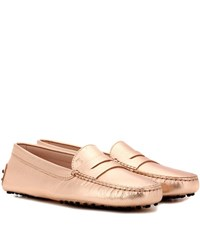 Tod's Gommini Metallic Leather Loafers