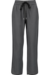 Marc By Marc Jacobs Frances Cropped Silk Straight Leg Pants Charcoal