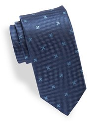 Hugo Micro Dot And Floral Silk Tie Navy