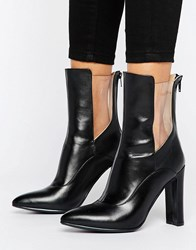 Lavish Alice Leather High Ankle Boot With Clear Insert Black