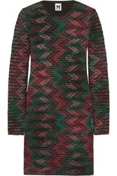 M Missoni Cotton Crochet Knit And Jersey Mini Dress Black
