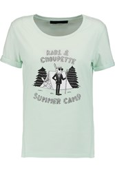 Karl Lagerfeld Tess Summer Camp Printed Cotton Jersey T Shirt Green