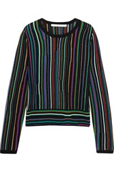 Diane Von Furstenberg Arisha Striped Knitted Sweater Black